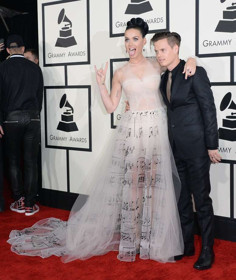 Singer Katy Perry (L) and brother David Hudson attend the 56th GRAMMY Awards at Staples Center on January 26, 2014 in Los Angeles, California. Photo: Jason Merritt, Getty Images