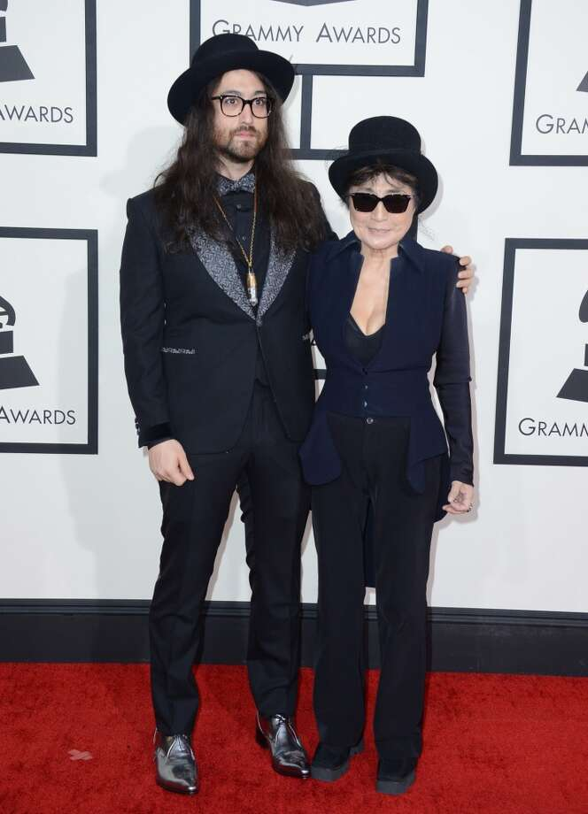 Sean Lennon, left, and Yoko Ono arrive at the 56th annual Grammy Awards at Staples Center on Sunday, Jan. 26, 2014, in Los Angeles. Photo: Jordan Strauss, Associated Press