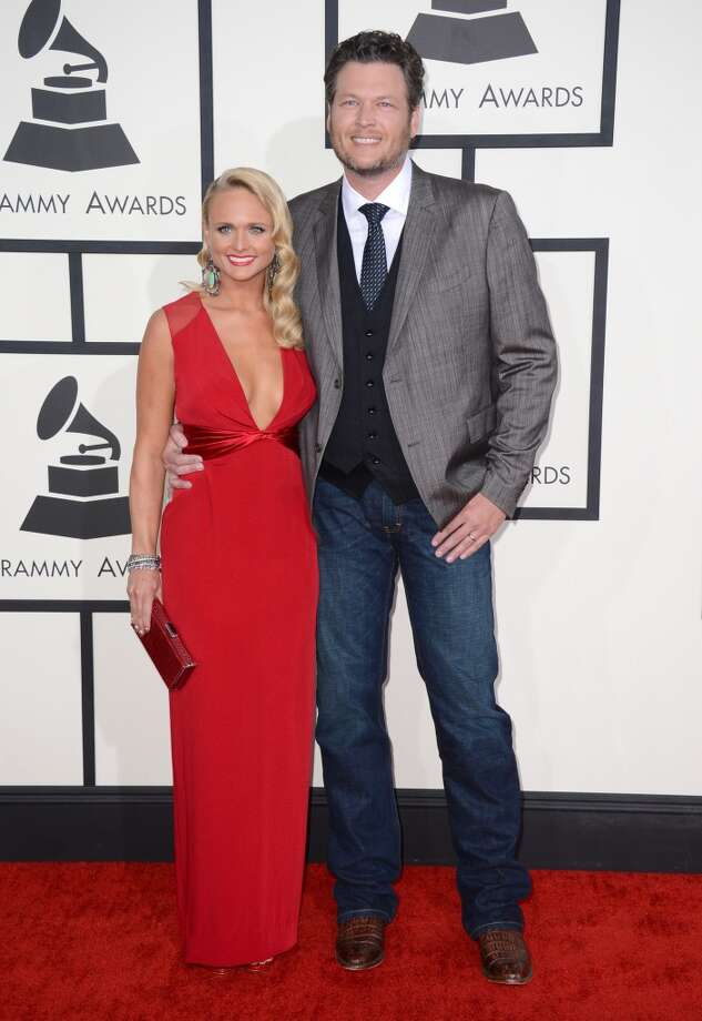 Miranda Lambert, left, and Blake Shelton arrive at the 56th annual Grammy Awards at Staples Center on Sunday, Jan. 26, 2014, in Los Angeles. Photo: Jordan Strauss, Associated Press