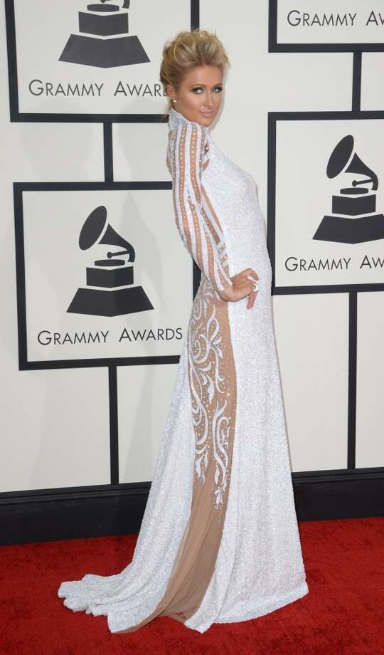 Paris Hilton arrives on the red carpet for the 56th Grammy Awards at the Staples Center in Los Angeles, California, January 26, 2014. Photo: ROBYN BECK, AFP/Getty Images