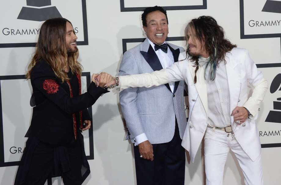 (L-R) Actor-singer Jared Leto, singer-songwriter Smokey Robinson and singer Steven Tyler attend the 56th GRAMMY Awards at Staples Center on January 26, 2014 in Los Angeles, California. Photo: Jason Merritt, Getty Images