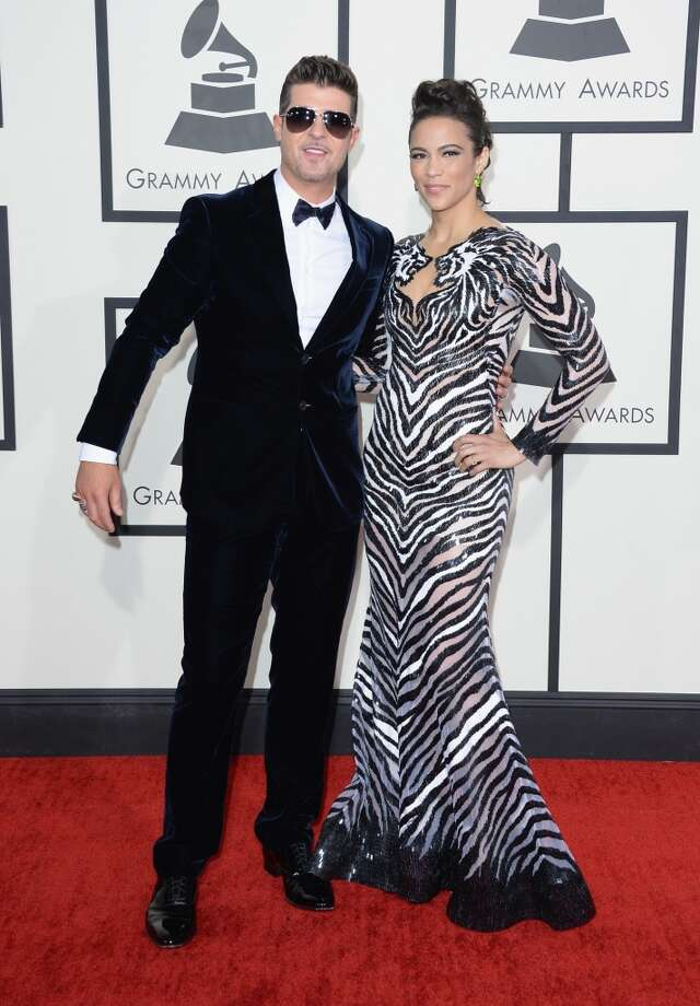 Singer Robin Thicke (L) and actress Paula Patton attends the 56th GRAMMY Awards at Staples Center on January 26, 2014 in Los Angeles, California. Photo: Jason Merritt, Getty Images