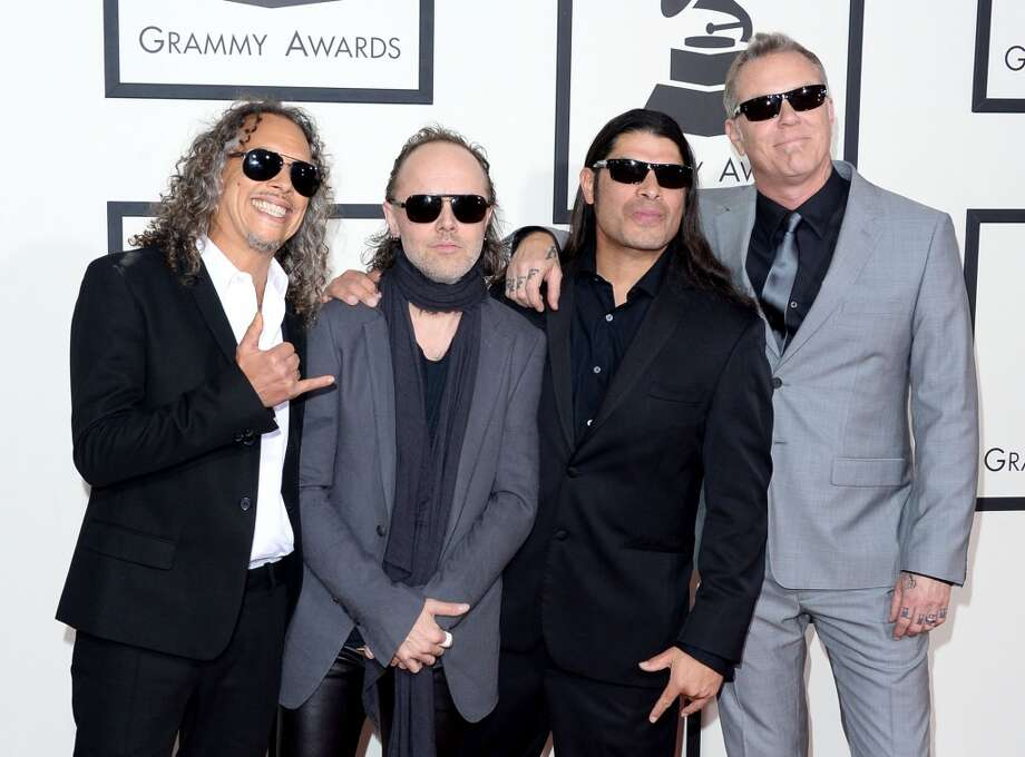 (L-R) Musicians Kirk Hammett, Lars Ulrich, Robert Trujillo and James Hetfield of Metallica attend the 56th GRAMMY Awards at Staples Center on January 26, 2014 in Los Angeles, California. Photo: Jason Merritt, Getty Images