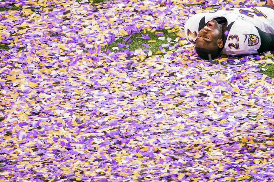 Baltimore Ravens defensive back Chykie Brown celebrates following the Ravens 34-31 victory over the San Francisco 49ers in Super Bowl XLVII at the Mercedes-Benz Superdome on Sunday, Feb. 3, 2013, in New Orleans. Photo: Smiley N. Pool, Chronicle / © 2013  Houston Chronicle
