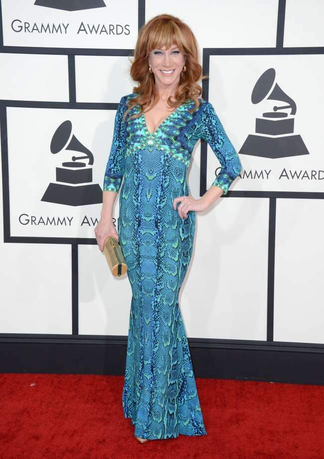 Miss: Kathy Griffin is  a lovely lady in a nice mermaid color palette—but a not-so-great snakeskin print.(Photo by Jordan Strauss/Invision/AP) Photo: Jordan Strauss, Associated Press