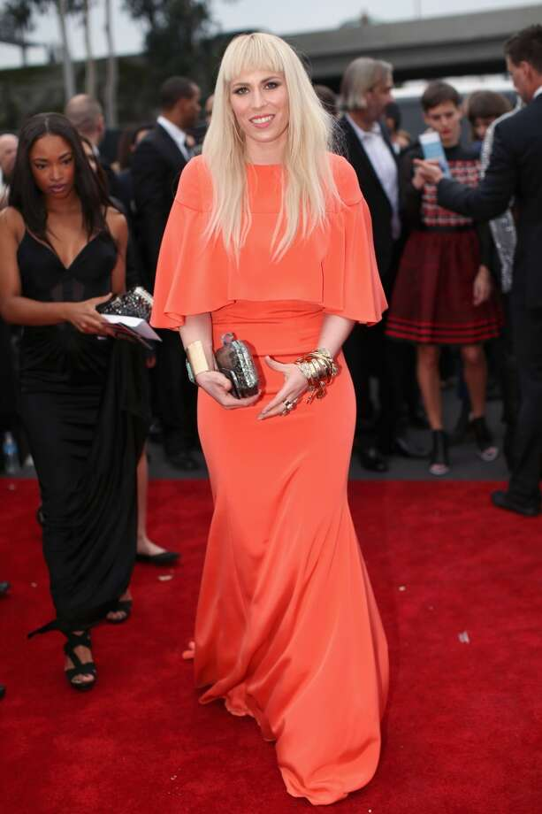 Hit: Natasha Bedingfield paris great hair with a great dress in a great color; it's simple, but not boring.  (Photo by Christopher Polk/Getty Images for NARAS) Photo: Christopher Polk, Getty Images For NARAS