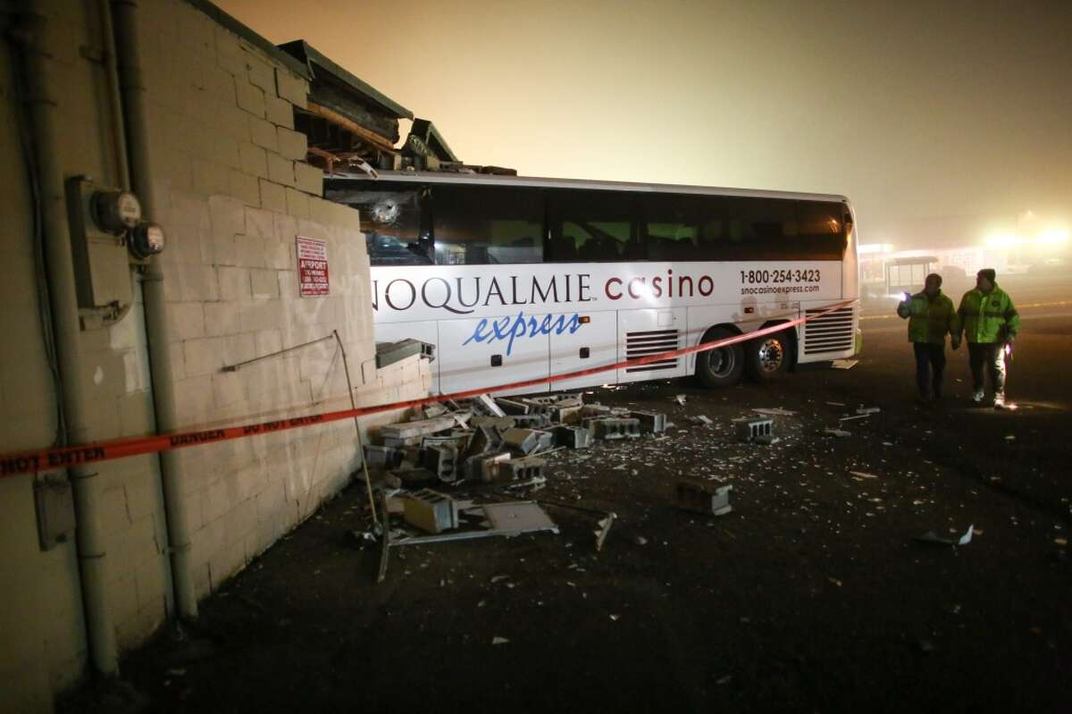 A bus is shown after it plowed into a building in Burien on Sunday, Jan., 26, 2014. (Joshua Trujillo, seattlepi.com)