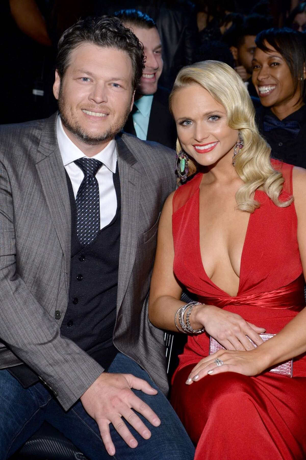 Recording artists Blake Shelton and Miranda Lambert attend the 56th GRAMMY Awards at Staples Center on January 26, 2014 in Los Angeles, California.
