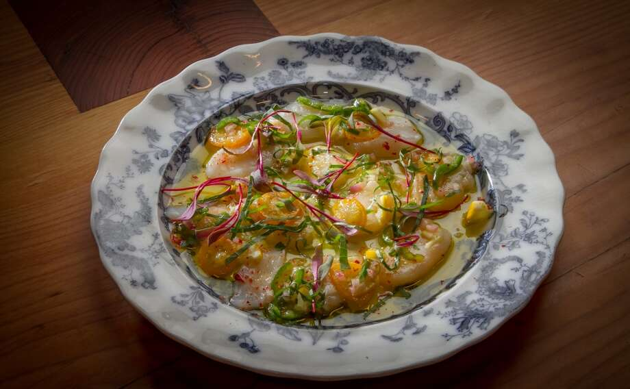 The Scallop Crudo with Meyer Lemon, Kumquat, and Green Chile at Penrose in Oakland. Photo: John Storey, Special To The Chronicle