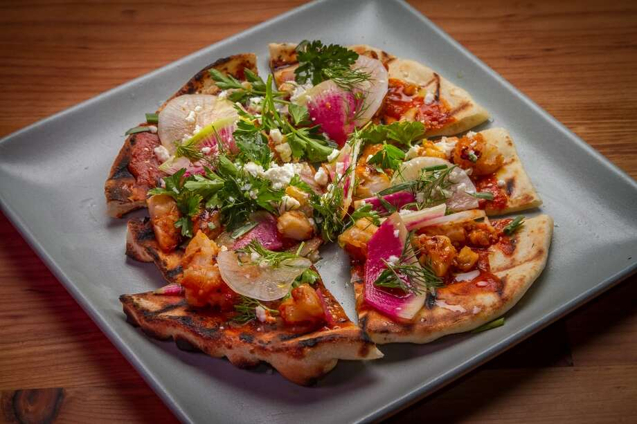 Flatbread with Shrimp, Harissa, Feta & Herbs at Penrose in Oakland. Photo: John Storey, Special To The Chronicle