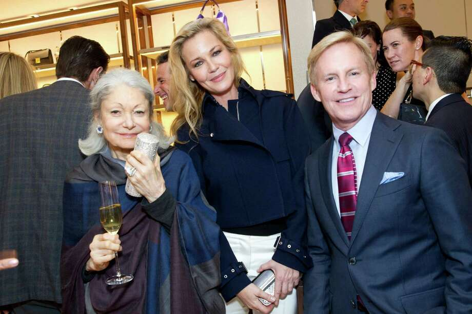 Denise Hale, Connie Nielsen and a guest at the opening cocktail reception of the newly relocated Salvatore Ferragamo boutique in S.F. on January 23, 2014. Photo: Drew Altizer Photography / Copyright 2014 Drew Altizer Photography