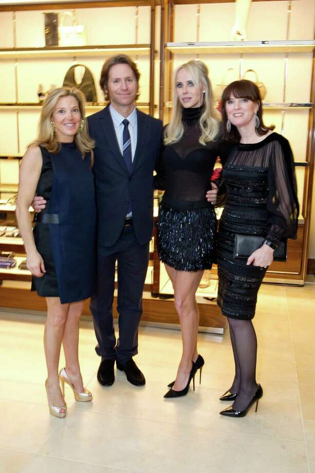 Kathryn Lasater, Trevor Traina, Vanessa Getty and Allison Speer at the opening cocktail reception of the newly relocated Salvatore Ferragamo boutique in S.F. on January 23, 2014. Photo: Drew Altizer Photography / Copyright 2014 Drew Altizer Photography