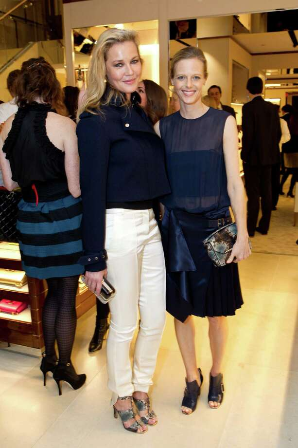 Connie Nielsen and Katie Traina at the opening cocktail reception of the newly relocated Salvatore Ferragamo boutique in S.F. on January 23, 2014. Photo: Drew Altizer Photography / Copyright 2014 Drew Altizer Photography