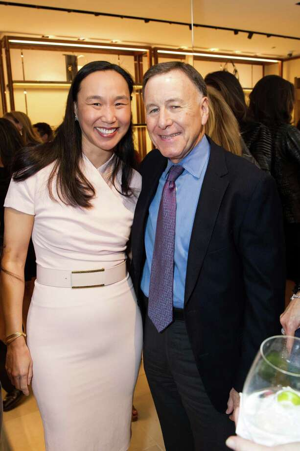 Carolyn Chang and Carl Pascarella at the opening cocktail reception of the newly relocated Salvatore Ferragamo boutique in S.F. on January 23, 2014. Photo: Laura Morton For Drew Altizer, Drew Altizer Photography / Drew Altizer Photography