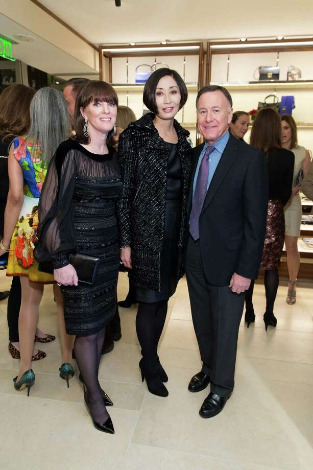 Allison Speer, Yurie Pascarella and Carl Pascarella at the opening cocktail reception of the newly relocated Salvatore Ferragamo boutique in S.F. on January 23, 2014. Photo: Drew Altizer, Drew Altizer Photography / ©2014 byDrew Altizer all rights reserved