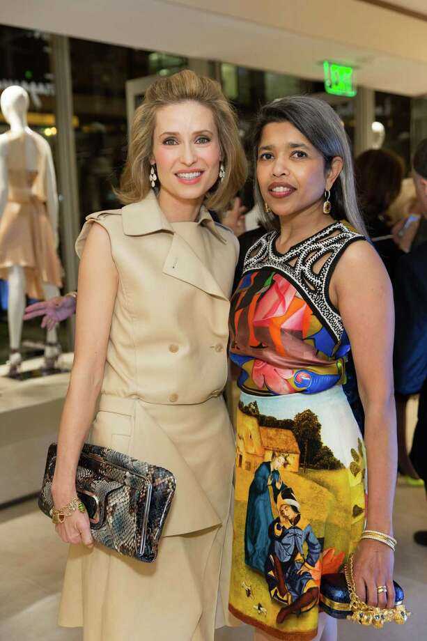 Kate Harbin and Deepa Pakianathan at the opening cocktail reception of the newly relocated Salvatore Ferragamo boutique in S.F. on January 23, 2014. Photo: Drew Altizer, Drew Altizer Photography / ©2014 by Drew Altizer all rights reserved