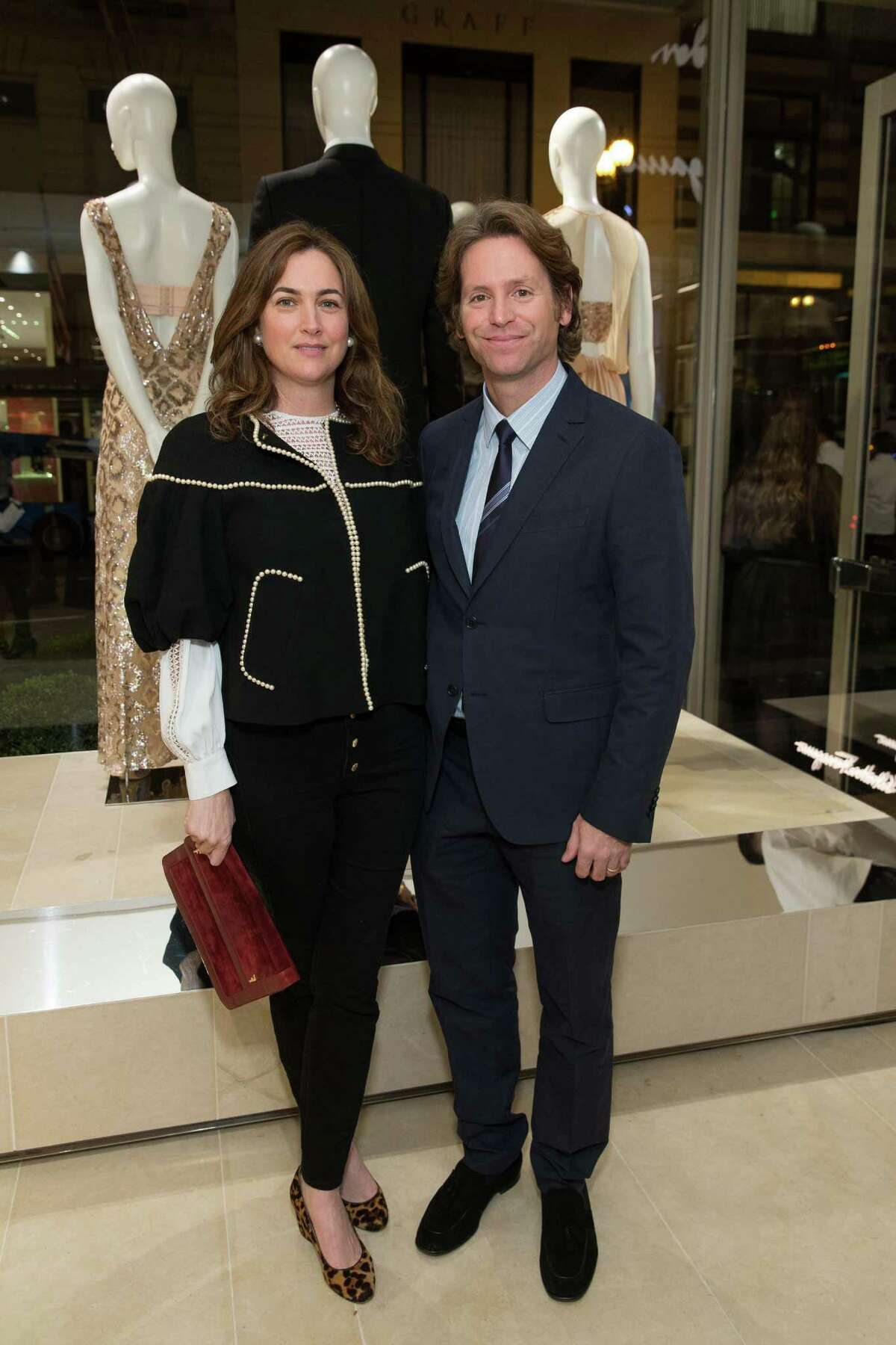 Alexis Traina and Trevor Traina at the opening cocktail reception of the newly relocated Salvatore Ferragamo boutique in S.F. on January 23, 2014.