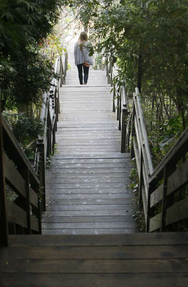 Emily Fox, 21, walks down the Filbert Steps near Coit Tower last Friday. You can explore Telegraph Hill's stairs and secret trails with Walk San Francisco on Feb. 15. Photo: Codi Mills, The Chronicle