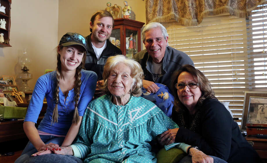 Family well-beingPortrait of the Cortese family Mildred, 88,  (center), Jessica (clockwise from left), her husband Brett, Tom and his wife Deborah Sunday Jan. 19, 2014. Photo: Edward A. Ornelas, San Antonio Express-News / © 2014 San Antonio Express-News
