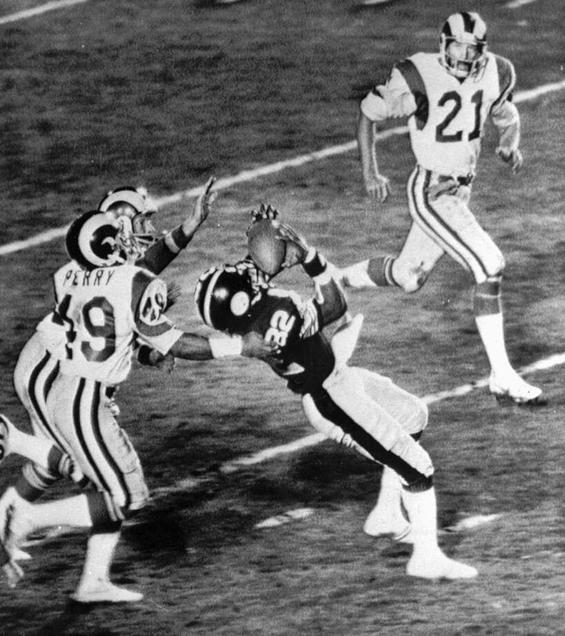 11. Super Bowl XIV Jan. 20, 1980 Pittsburgh Steelers 31, Los Angeles Rams 19  The underdog Rams, only 9-7 during the regular season, led twice in the fourth quarter while intercepting Bradshaw three times, but Bradshaw finally got them back with a 73-yard touchdown strike to John Stallworth that gave the Steelers the points they needed for their fourth Super Bowl championship. Photo: Associated Press