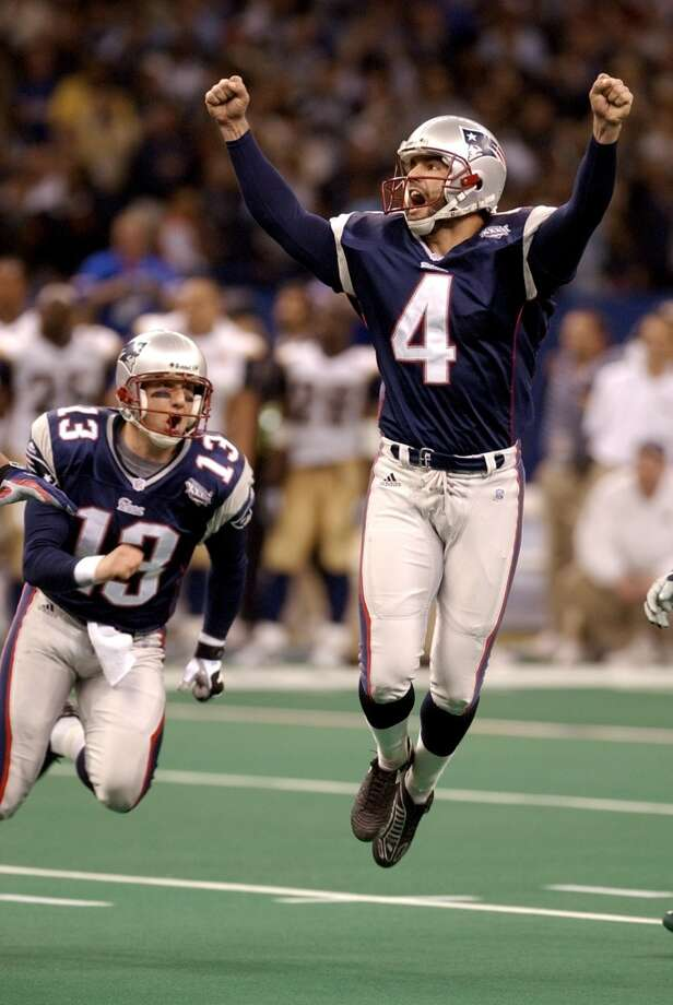"""8. Super Bowl XXXVI Feb. 3, 2002  New England Patriots 20, St. Louis Rams 17Kurt Warner and the Rams' """"Greatest Show on Turf"""" rolled up 427 yards to the Patriots' 267, but Tom Brady kept plugging along and eventually put kicker Adam Vinatieri in range for a game-winner. His 48-yarder made the game the first to be decided on the final play. Photo: Amy Sancetta, Associated Press"""