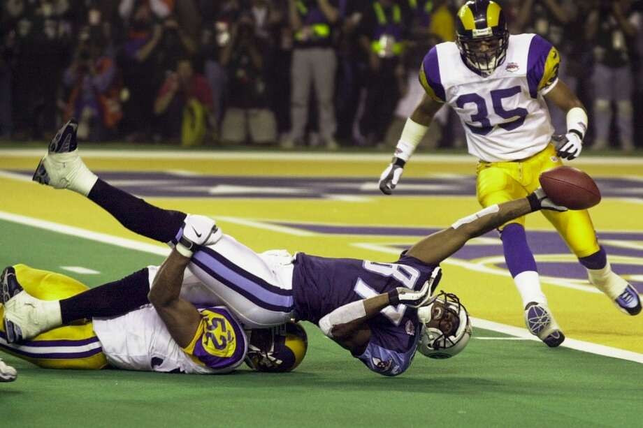 2. Super Bowl XXXIV Jan. 30, 2000  St. Louis Rams 23, Tennessee Titans 16  A true game of inches this one, the Rams finally prevailed - having blown a 16-0 lead - when Mike Jones tackled Kevin Dyson a half-yard short of the end zone on the final play of the game after Dyson had snared a Steve McNair pass at the 5. Photo: Smiley N. Pool, Houston Chronicle
