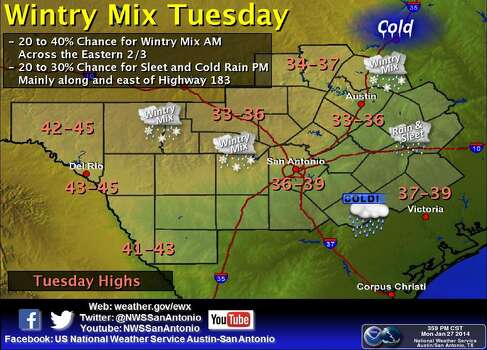 On Tuesday morning, there is a 20- to 40-percent chance for a wintry mix of precipitation across the Eastern two-thirds of the area. Tuesday afternoon holds a 20- to 30-percent chance for sleet and cold rain mainly along and east of Highway 183. Photo: Courtesy Illustration/National Weather Service Austin-San Antonio