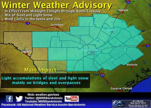 A winter weather advisory is in effect from midnight Monday though noon Tuesday. A mix of sleet and light snow is possible, with wind chills in the teens and 20s. Photo: Courtesy Illustration/National Weather Service Austin-San Antonio