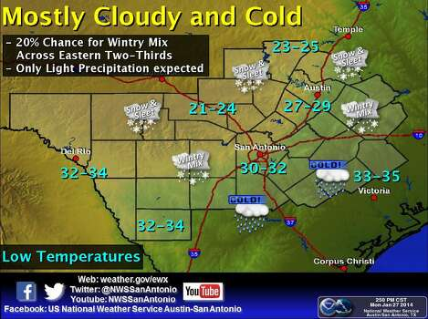 It will be mostly cloudy and cold Monday night, with a 20-percent chance for a wintry mix of precipitation across the Eastern two-thirds of the area. Photo: Courtesy Illustration/National Weather Service Austin-San Antonio