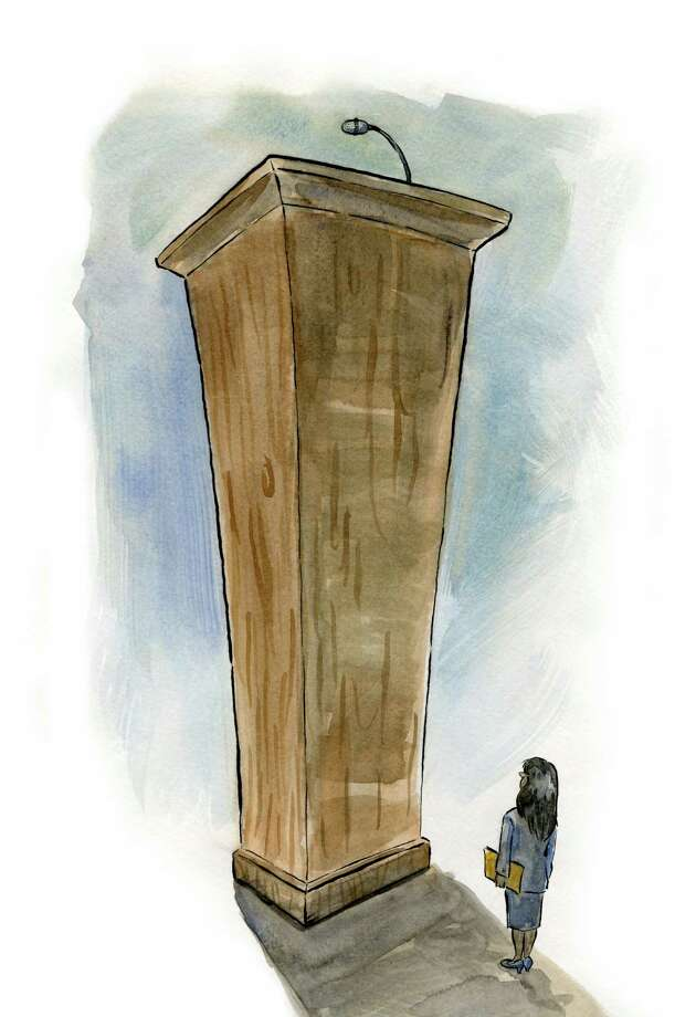 Illustration to go with public speaking worklife story. Illustration by Tyswan Stewart / Times Union