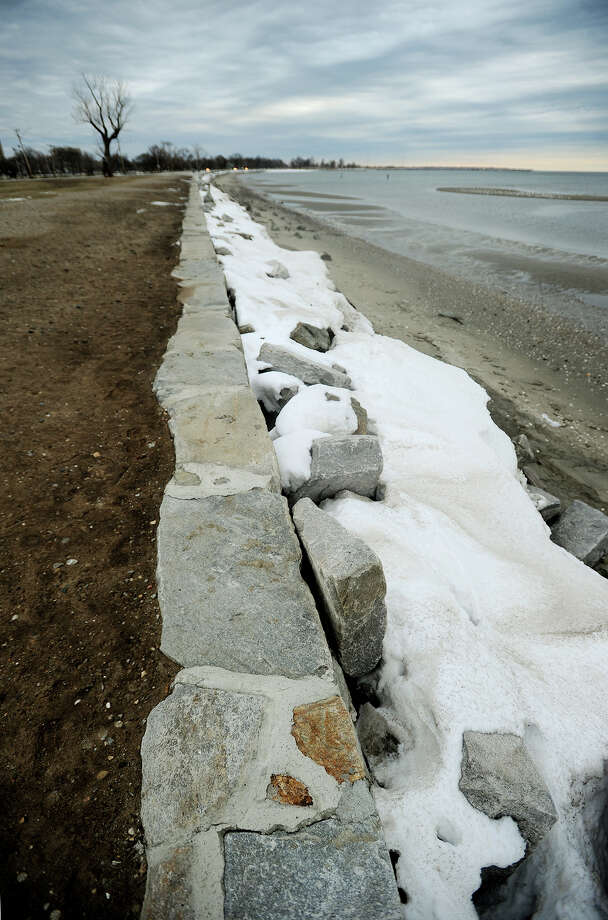 A long section of the recently repaired seawall, badly damaged during Super Storm Sandy, at Seaside Park in Bridgeport, Conn. on Monday, January 27, 2014. Photo: Brian A. Pounds / Connecticut Post