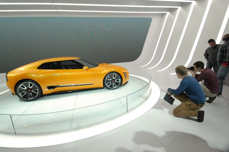 The Kia GT4 concept car sits on display on day one of the North American International Auto Show in Detroit, Michigan. (Photo by Paul Warner/Getty Images) Photo: Paul Warner, Getty Images