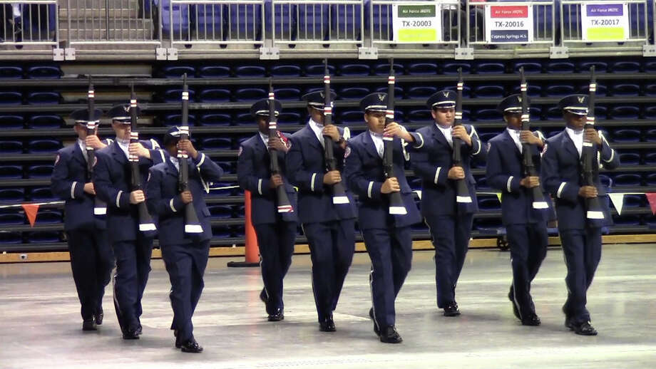This photo provided by Cy-Fair Independent School District shows Langham Creek High School AFJROTC Unit TX-20061 participating in the Armed Regulation drill during the CFISD Military Drill Competition in 2013. Photo: Provided By Cy-Fair Independent School District