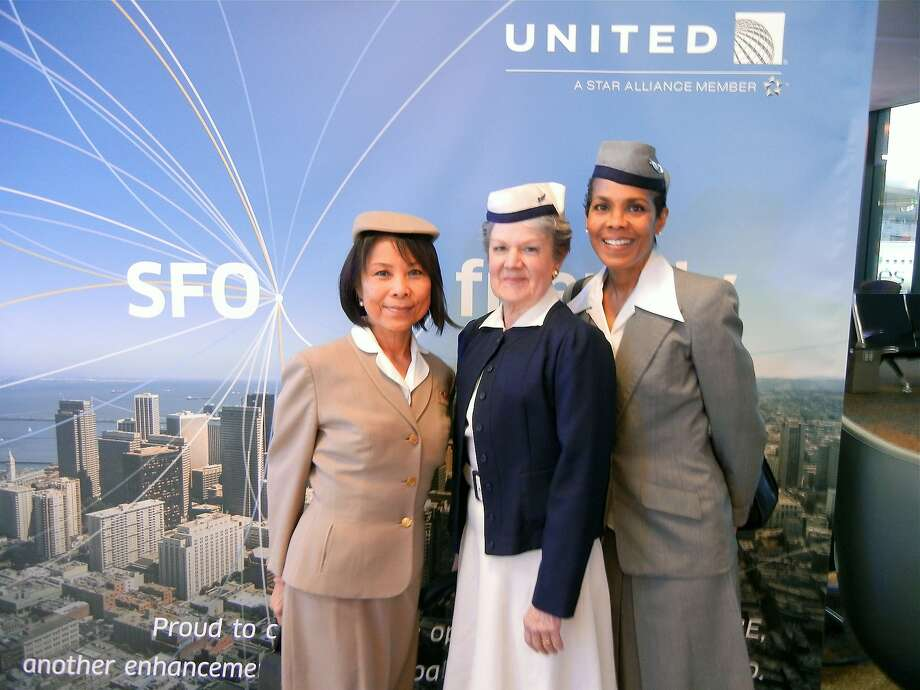 Retired United flight attendants Laykoon Tan (left), Marian Bruns  and Debi Gould at SFO. Photo: Catherine Bigelow, Special To The Chronicle