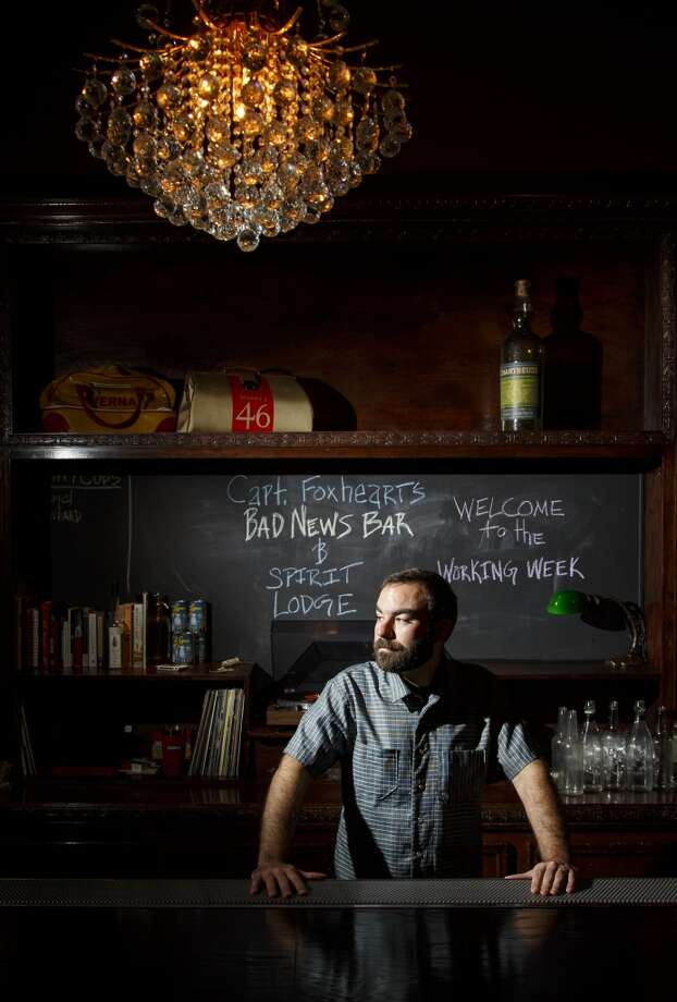 Bartender and owner Justin Burrow poses for a portrait at Captain Foxheart's Bad News Bar & Spirit Lodge. (Michael Paulsen / Houston Chronicle ) Photo: Michael Paulsen, Houston Chronicle