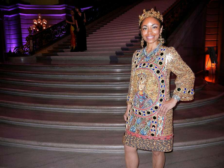 S.F. Ballet Gala chairwoman Tanya Powell in her post-party dress and crown by Dolce & Gabbana. Photo: Catherine Bigelow, Special To The Chronicle