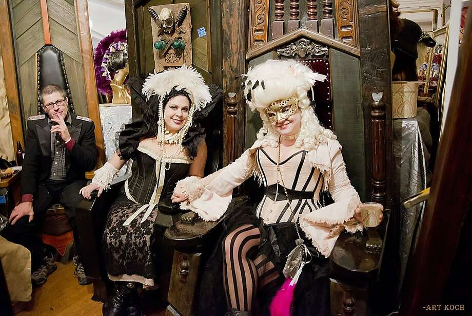 """The 14th annual Edwardian Ball and World's Fair took place Jan. 17 and 18, 2014, at the Regency Ballroom in San Francisco. The costume party offers guests a chance to dress in 1900s attire and is an homage to cult illustrator and author Edward Gorey. The theme this year was """"The Curious Sofa."""" Photo: Arthur Koch"""