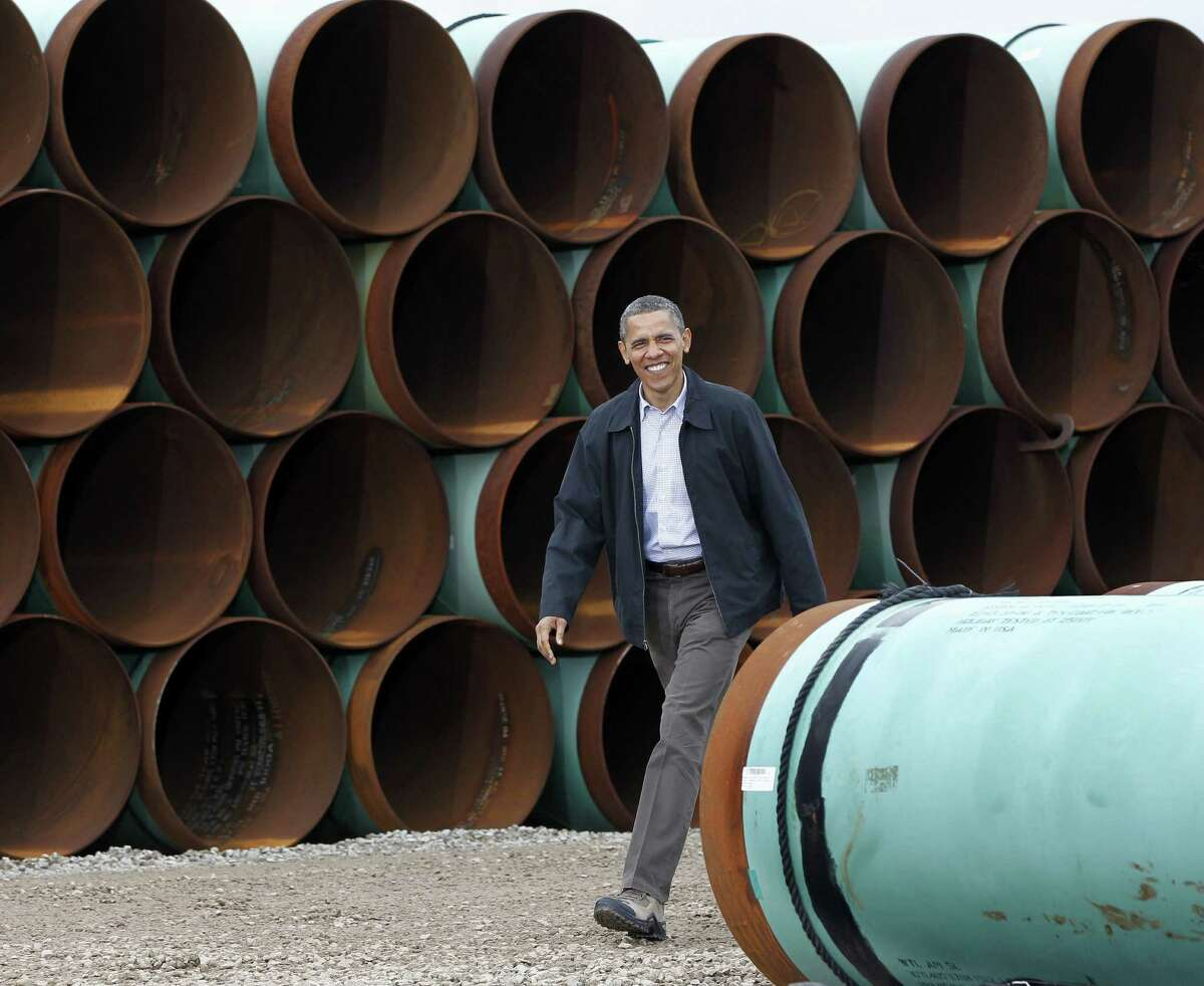 Obama arrives at the TransCanada Stillwater Pipe Yard in Cushing, Okla., in March 2012. He isn't expected to touch on the controversial Keystone XL pipeline in his speech tonight.