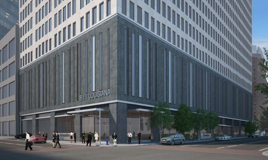 The new exterior of Two Shell Plaza will get a continuous band of LED light. The work is scheduled to be done by April 2015. / ONLINE_YES