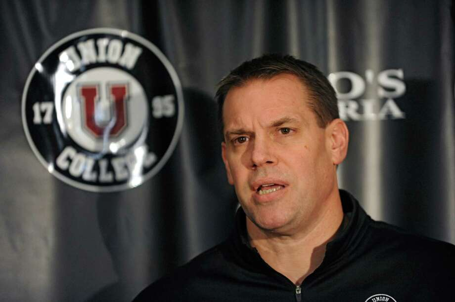 Union coach Rick Bennett, who was suspended for two games for his involvement in Saturday's fight at the Union-RPI game, talks to the media on Monday, Jan. 27, 2014 in Schenectady, N.Y. (Lori Van Buren / Times Union) Photo: Lori Van Buren / 00025529A