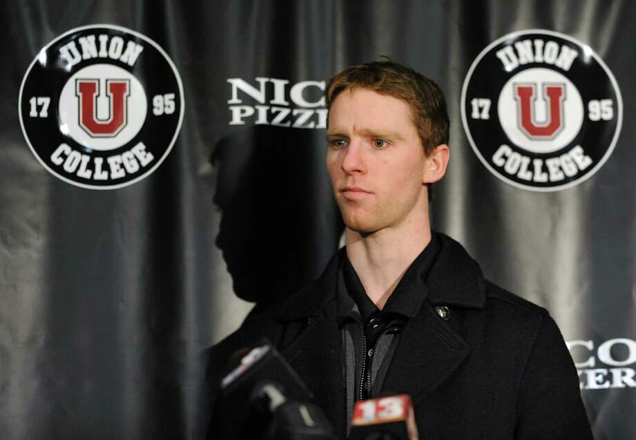 Union hockey captain Mat Bodie, who was suspended for two games for his involvement in Saturday's fight at the Union-RPI game, answers questions from the media on Monday, Jan. 27, 2014 in Schenectady, N.Y. (Lori Van Buren / Times Union) Photo: Lori Van Buren / 00025529A