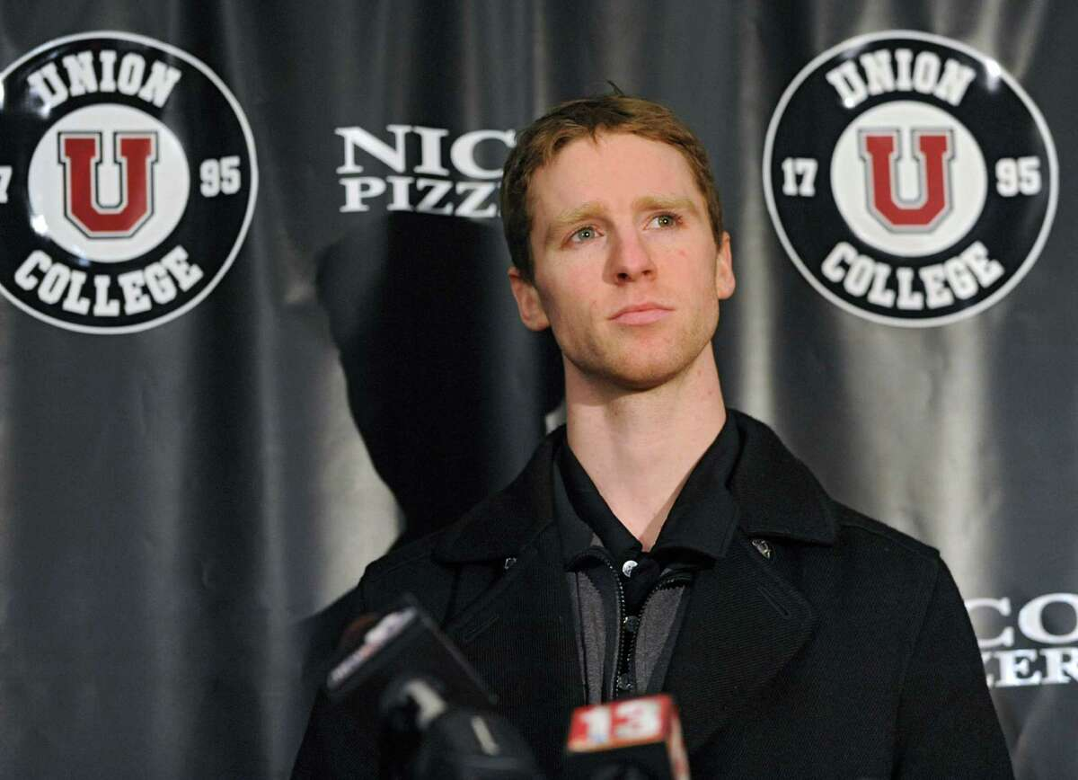 Union hockey captain Mat Bodie, who was suspended for two games for his involvement in Saturday's fight at the Union-RPI game, answers questions from the media on Monday, Jan. 27, 2014 in Schenectady, N.Y. (Lori Van Buren / Times Union)