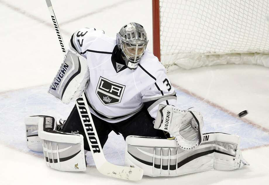 Kings goaltender Jonathan Quick needed to make only 23 saves against the Sharks, stopping a flurry in the  third period to seal the victory. Photo: Marcio Jose Sanchez, Associated Press
