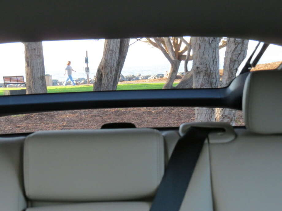 that rear-sloping hatchback exacts a price – when you check the rear view mirror you find that the backlight and the piece of glass in the upright portion of the hatch lid are bisected by an annoying piece of steel. It's just like the same obstructed view in Toyota's Prius.
