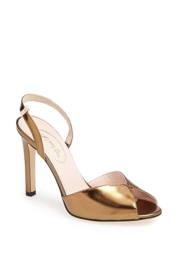 SJP Slim sandal in bronze Photo: SJP Collection By Sarah Jessica Parker
