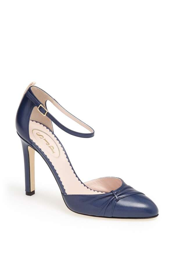 SJP tawny pump in avio blue Photo: SJP Collection By Sarah Jessica Parker