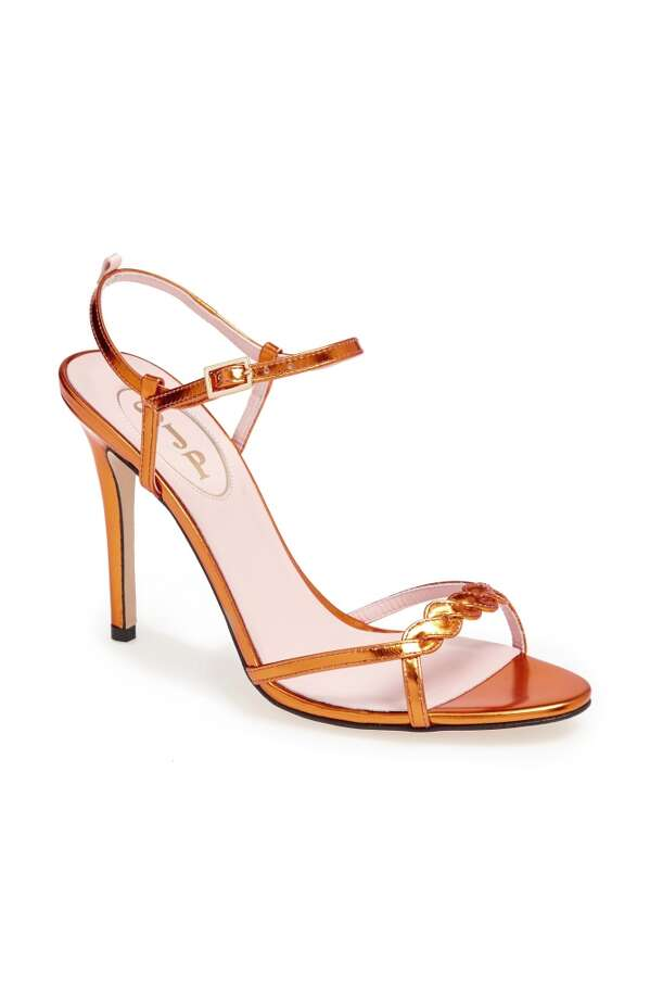 SJP Brigitte sandal in pumpkin specchio Photo: SJP Collection By Sarah Jessica Parker
