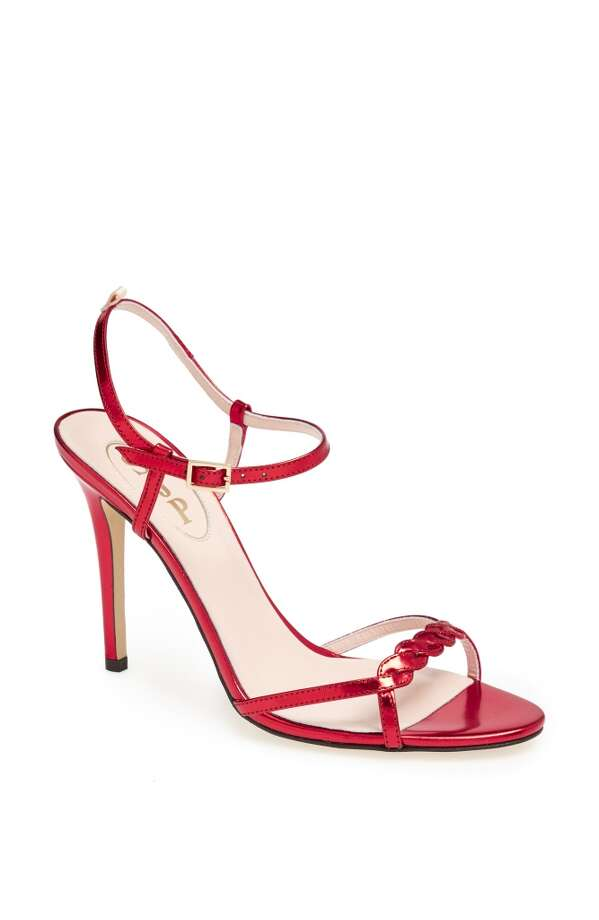 SJP Brigitte sandal in red specchio Photo: SJP Collection By Sarah Jessica Parker