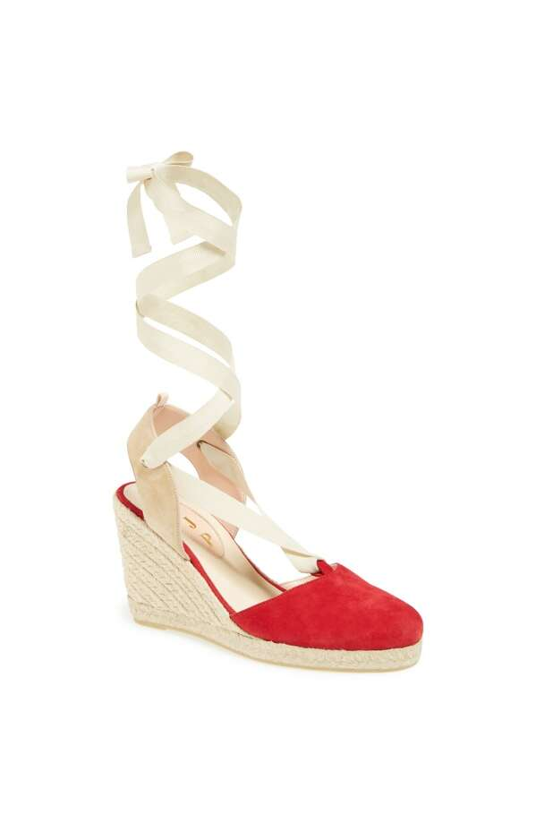 SJP Inez espadrille wedge in red ivory Photo: SJP Collection By Sarah Jessica Parker