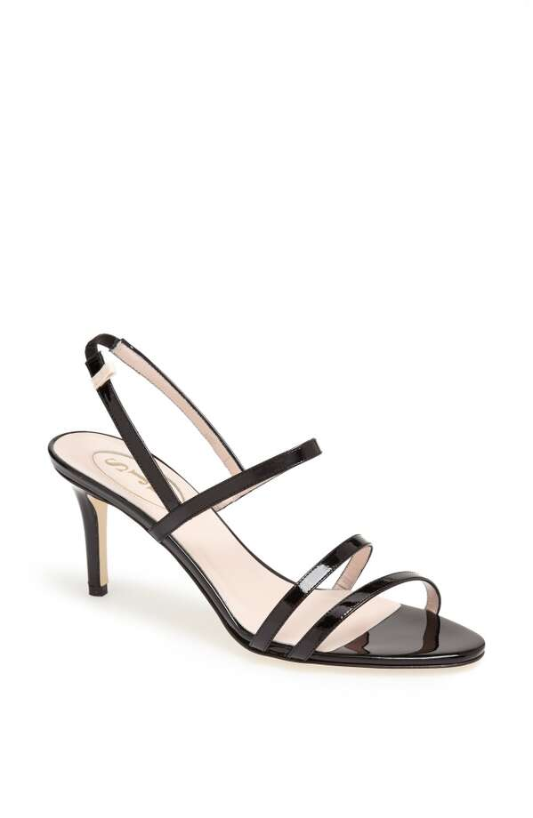 SJP Iva sandal in black patent Photo: SJP Collection By Sarah Jessica Parker